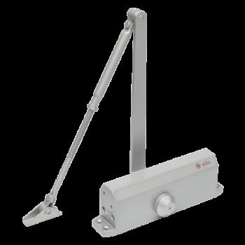 Amortizor hidraulic cu brat Silin SA-5044AWS , argintiu, Pentru usi cu greutatea de 60-85 kg; latime usa 1050mm, Viteza de inchidere reglabila, Montare stanga sau dreapta