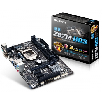 Placa de baza Gigabyte Z87M-HD3 Socket 1150 Chipset Intel Z87 2x DIMM DDR3 1x PCI-E x16 3.0 2x PCI-E x1 1x PCI HDMI DVI VGA 4x USB 3.0 MicroATX
