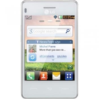 Telefon Mobil LG T385B White Touchscreen, WiFi LGT385WHT