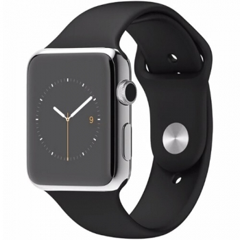 Smartwatch Apple Watch 42 mm carcasa din otel inoxidabil si curea sport neagra MJ3U2LL