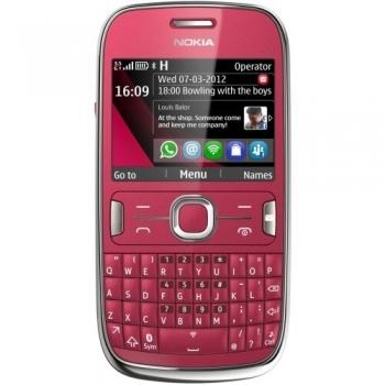 Telefon Mobil Nokia Asha 302 Plum Red tastatura qwerty Wi-Fi Symbian S40 Camera Foto 3.15MPxNOK302RED