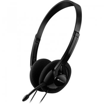 Casti Canyon cu microfon si control de volum black CNE-CHS01B