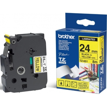 Etichete Brother TZE651 Dimensiune 24mm black on yellow