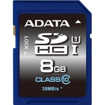 Card Memorie SDHC ADATA 8GB Clasa 10 UHS-I ASDH8GUICL10-R