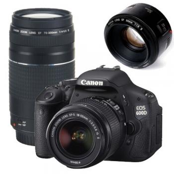Camera Foto D-SLR Canon EOS 600D 18MP Obiectiv Kit 18-55mm + 75-300mm + 50mm AC5170B149AA
