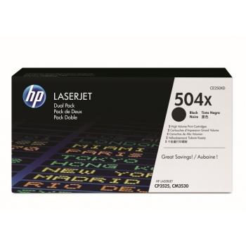 Pachet Cartus Toner HP Nr. 504X Black 2 Bucati 2x 10500 Pagini for Color LaserJet CM3530 MFP, CM3530FS MFP, CP3525DN, CP3525N, CP3525X CE250XD