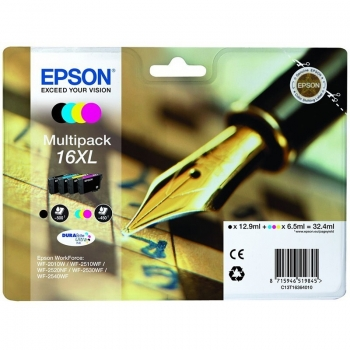 Multipack Cartus Cerneala Epson Nr. 16XL CMYK for WorkForce WF-2010W, WF-2510WF, WF-2520NF, WF-2530WF, WF-2540WF C13T16364010