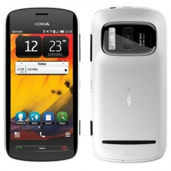 "Telefon Mobil Nokia 808 PureView White Camera foto 41MP 3G 4"" 360 x 640 Gorilla Glass ARM 11 1.3GHz memorie interna 16GB Simbian Nokia Belle OS NOK808WH"