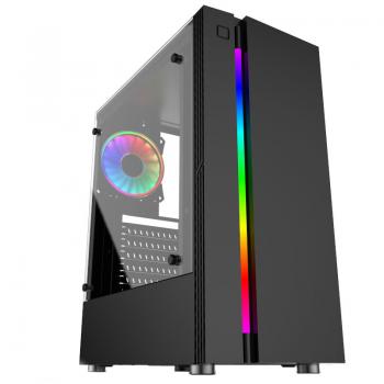 Carcasa Middle Tower Floston Hero RGB Ventilatoare 1x 120 mm LED RGB 1x USB2.0 1x USB 3.0 2x jack 3.5mm Black