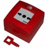 Buton de incendiu de exterior BIC02 Carcasa din plastic rosu, dual geam plastic + sticla IP54-11, Vds88x88x57mm