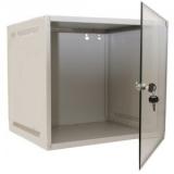 "9U Wallmounted cabinet 19""/ 450mm, usa fata sticla securizata, se poate monta cu deschidere stanga sau dreapta, inchidere cu cheie, RAL7035 gri, 2 montanti, include aprox. 20 seturi surub cu piulita incastrabila, predecupaje in tavan si podea pentru"