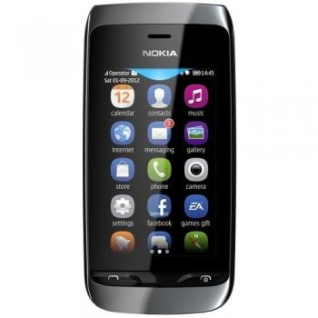 Telefon Mobil Nokia Asha 308 Black Dual SIM NOK308BLK