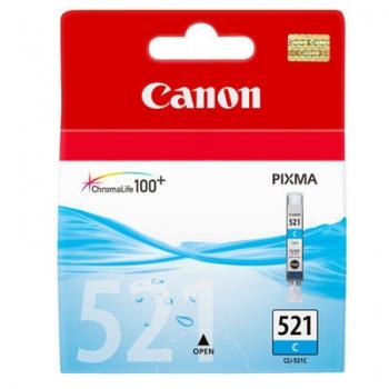 Cartus Cerneala Canon CLI-521C Cyan 505 Pagini for Pixma IP3600, IP4600, IP4700, MP550, MP560, MP620, MP630, MP640, MP980, MP540, MP990, MX870 BS2934B001AA