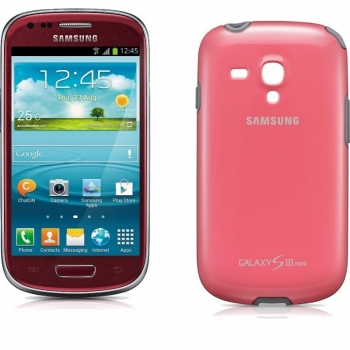 Telefon Mobil Samsung Galaxy S3 Mini i8190 Garnet Red Cortex A9 Dual Core 1.0GHz 8GB Android 4.1 Husa Protectie SI8190R+EFC-1M7BPEGSTD