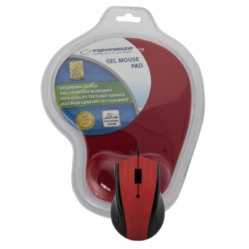 Mouse Esperanza EM125R Optic 3 butoane 1200dpi USB + GEL Mouse Pad EM125R - 5901299909140