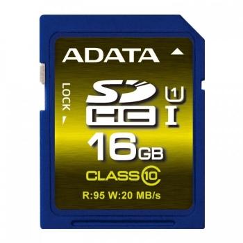 Card Memorie SDHC ADATA 16GB Clasa de viteza 10 ASDH16GCUICL10-R
