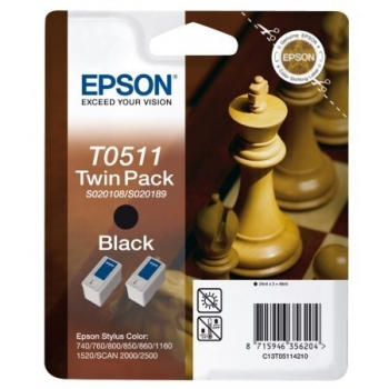 Cartus Cerneala Epson T0511 black Twins Pack capacitate 1800 pagini for Epson Stylus Color 740, 760, 1520, 800, 850, 1160, 1520, 860, 2000, 2500 C13T05114210