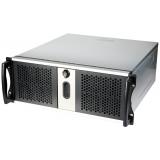 """Carcasa rack CHEMBRO - dimensiuni utile:19""""/4U/430mm, 3x5.25"""", 1x3.5"""" driver bay la vedere, 3x3,5"""" ascuns, 1x12cm cooler in fata, usi in fata inchidere cu cheie, intrusion switch, 2xUSB, neagru/argintiu, (MB acceptata ATX 12""""x10"""