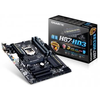 Placa de baza Gigabyte H87-HD3 Socket 1150 Chipset Intel H87 4x DIMM DDR3 1x PCI-E x16 3.0 1x PCI-E x16 2.0 2x PCI-E x1 2x PCI HDMI DVI VGA 4x USB 3.0 ATX