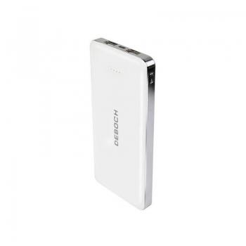 Deboch F12000K 12000mAh White, capacitate: 12000mAh, input: 5V 2A (MAX), output: 5V 2A (MAX), baterii Li-polymer, include cablu microUSB, conectori: microUSB (input), 2x USB (putput), dimensiuni: 154x74x15mm, greutate: 269g