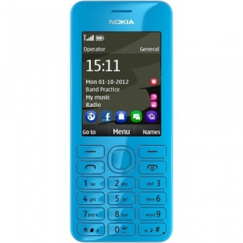 Telefon Mobil Nokia 206 Cyan Dual SIM Camera Foto 1.3MPx NOK206DSCY