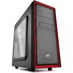 CARCASA DEEPCOOL ATX Mid-Tower, 2* 120mm RED LED fan (incluse), side window, front audio & 1x USB 3.0, 1x USB 2.0, red&black