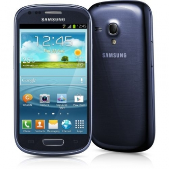 "Telefon Mobil Samsung Galaxy S3 Mini i8190 Metallic Blue 4"" 480 x 800 Super AMOLED Cortex A9 Dual Core 1.0GHz memorie 8GB Camera Foto 5MPx Android v4.1 GT-I8190MBACOA"
