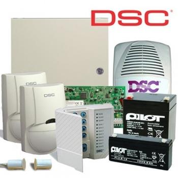 Kit DSC KIT 1616-EXT , 1 x centrala PC1616 (tastatura inclusa), 1 x transformator TC45/16, 1 x acumulator PL-5AH, 1 x acumulator PL-2,3AH, 2 x detectori LC100PCI cu suporti originali LC-MBS, 1 x sirena de exterior LADY-PI, 1 x contact magnetic aparent MC-