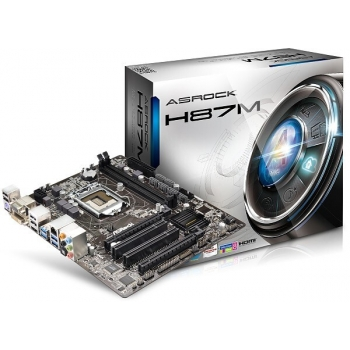 Placa de baza ASRock H87M Socket 1150 Chipset Intel H87 2x DIMM DDR3 2x PCI-E x16 3.0 2x PCI HDMI DVI VGA 4x USB 3.0 MicroATX