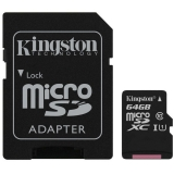 Card Memorie Kingston Micro SDXC 64GB Clasa 10, UHS-I + Adaptor SD SDCS/64GB