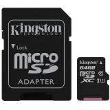 Card Memorie Kingston Micro SDXC 64GB Clasa 10, UHS-I + Adaptor SD SDCS/64GB