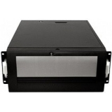 "Carcasa rack CHEMBRO - dimensiuni utile:19""/4U/553mm, 3x5.25"" driver bay la vedere, 4x3,5"" hot-swap 6Gb/s miniSAS Backplane& 8cm cooler (84H220910-78), 1x12cm cooler in spate, usa in fata inchidere cu cheie, laterala inchidere cu cheie,"
