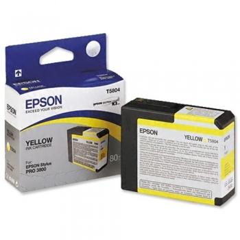 Cartus Cerneala Epson T5804 Yellow 80ml for Stylus Pro 3800, Stylus Pro 3880 C13T580400