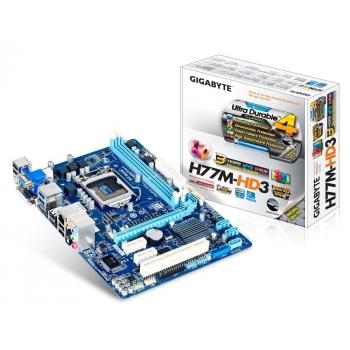 Placa de baza Gigabyte H77M-HD3 Socket 1155 Chipset Intel H77 2x DIMM DDR3 1x PCI-E x16 3.0 2x PCI-E x1 1x PCI HDMI DVI VGA 2x USB 3.0 MicroATX