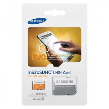Card Memorie MicroSDHC Samsung EVO 8GB Clasa 10 UHS-I + Adaptor SD MB-MP08DA/EU