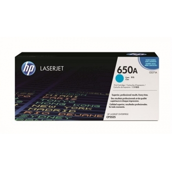 Cartus Toner HP Nr. 650A Cyan 15000 Pagini for Color LaserJet CP5525DN, CP5525N, CP5525XH CE271A