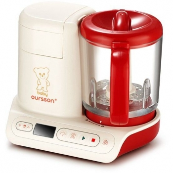 Aparat de gatit cu aburi si blender Baby Oursson BL1060HGD/RD, putere: 500W, capacitate 0.95 L, 10 programe, timer, vas sticla, display LCD