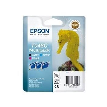 Multipack Cartuse Cerneala Epson T048C (cyan, magenta si black) for Epson Stylus Photo R200, R220, R300, R320, R340, RX500, RX600, RX620, RX640 C13T048C4010
