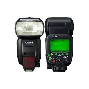 Blitz foto Canon Speedlite 600EX, numar director: 60 (m, ISO 100), radio transmiter integrat, zoom 20-200mm, Declansare wireless infra-rosu: 12-15m in interior, 8-10m exterior, declansare wireless (slave), alimentare: 4 acumulatori AA
