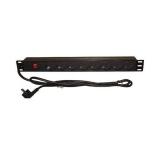 Gembird rack-mount power strip (PDU), 8 SCHUKO sockets, 1U, 16A, 19'', 2m, black