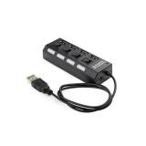Gembird 4-port HUB with switch, USB 2.0, black