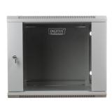 DIGITUS Wall Mount Cabinet 19'' 9U 501/600/450mm, glass door, grey, unmounted