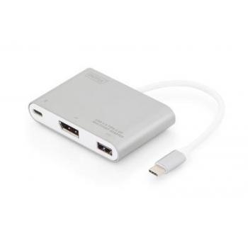 Multi Adapter DisplayPort 4K 30Hz UHD USB C (PD), USB A 2.0 to USB Type C alu