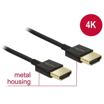 Delock Cable High Speed HDMI with Ethernet A male > A male 3D 4K 1m Slim