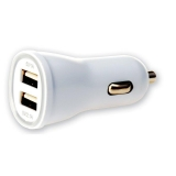 Techly Car USB charger 5V 1A/2.1A, 12/24V, two USB ports, white