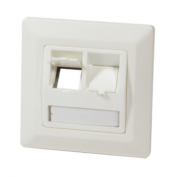 LOGILINK- Keystone Faceplate for 2 Keystone Jacks, pearl white