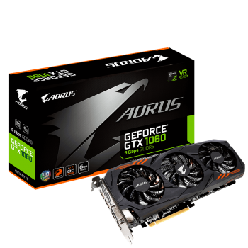 Placa Video Gigabyte nVidia GeForce GTX 1060 6G 9Gbps 6GB GDDR5 192 bit PCI-E x16 3.0 DVI HDMI DisplayPort GV-N1060AORUS-6GD