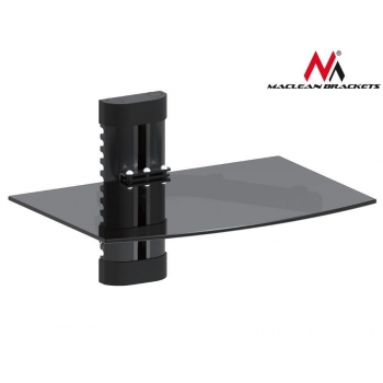 Maclean MC-663 1-Tier Wall Floating Glass Shelf Support DVD Console PS3 Xbox