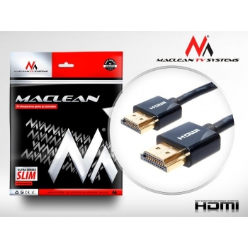 Maclean MCTV-701 1m HDMI-HDMI SLIM v1.4  High Quality Cable 3d GOLD