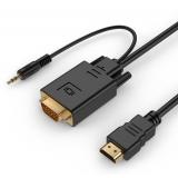 Gembird HDMI la VGA È™i adaptor pentru cablu audio, port unic, 5m, negru